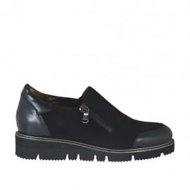 Chaussure pour femmes avec fermeture éclair en cuir et daim noir talon compensé 3 - Pointures disponibles:  32, 33, 34, 42, 43, 44, 45