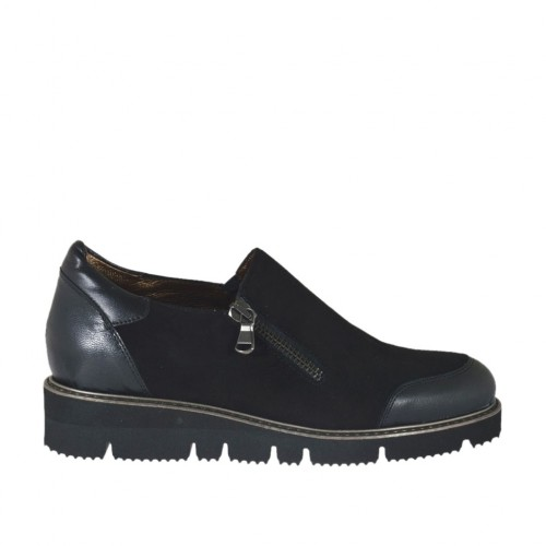 Woman's shoe with zipper in black leather and suede wedge heel 3 - Available sizes:  33, 34, 42, 44