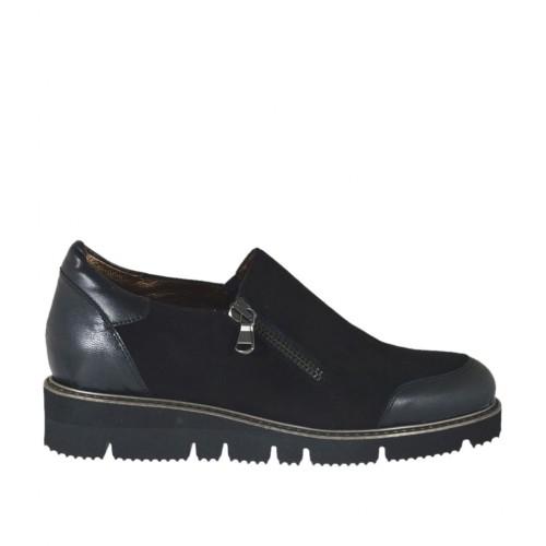 Zapato cerrado para mujer con cremallera en piel y gamuza negra cuña 3 - Tallas disponibles:  42
