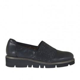 Chaussure pour femmes avec strass en cuir noir talon compensé 3 - Pointures disponibles:  33, 34, 42, 43, 44