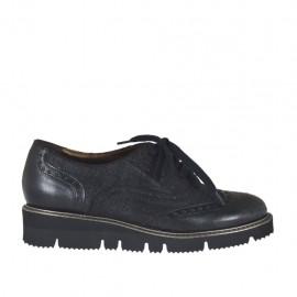 Chaussure à lacets pour femmes en cuir et daim imprimé noir talon compensé 3 - Pointures disponibles:  32, 33, 34, 43, 44, 45