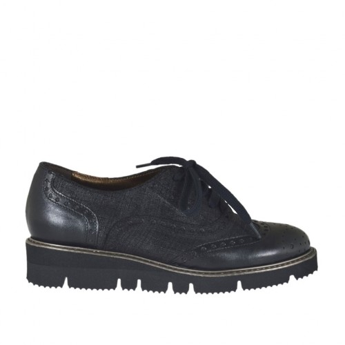 Zapato Mujer Con Cordones En Imprimida Piel Y Cerrado Para Gamuza HWE29DI