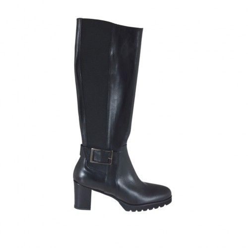 Woman's boot with zipper, elastic band and buckle in black leather heel 6 - Available sizes:  32, 33