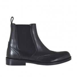 Stivaletto da donna con elastici laterali in pelle nera stile inglese tacco 2 - Misure disponibili: 32, 33, 34, 42, 43, 44, 45