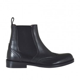 Woman's ankle boot with elastic bands and decorations in black leather heel 2 - Available sizes:  32