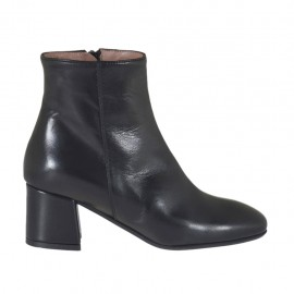 Woman's ankle boot with inner zipper in black leather heel 5 - Available sizes:  32, 33, 34, 42, 43, 44, 45