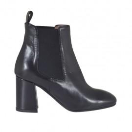Bottines pour femmes avec élastiques en cuir noir talon 7 - Pointures disponibles:  42, 44