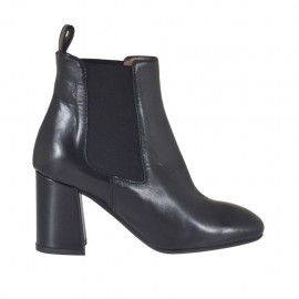Woman's ankle boot with elastic bands in black leather with heel 7 - Available sizes:  32, 33, 34, 42, 43, 44, 45