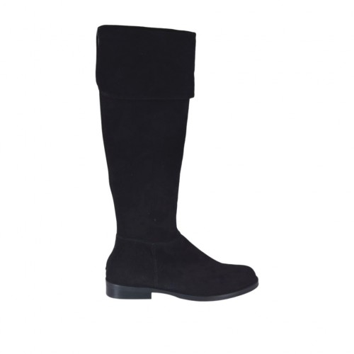 Woman's boot with turnover in black suede heel 2 - Available sizes:  32