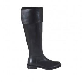 Botas para mujeres con solapa en piel negra tacon 2 - Tallas disponibles:  32, 33, 34, 42, 43, 44, 45
