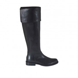 Woman's boot with turnover in black leather heel 2 - Available sizes:  32, 33, 43