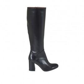 Damenstiefel mit innerem Reißverschluss aus schwarzem Leder Absatz 7 - Verfügbare Größen:  32, 33, 42, 43