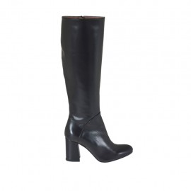 Woman's boot with inner zipper in black leather heel 7 - Available sizes:  32, 33, 42, 43