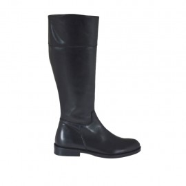 Woman's boot with zipper in black-colored leather heel 2 - Available sizes:  32, 33, 43, 44