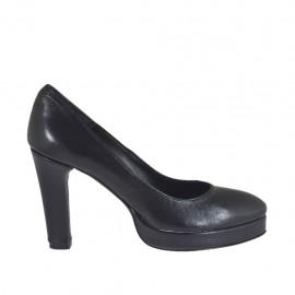 Zapato de salon para mujer en piel negra con plataforma tacon 9 - Tallas disponibles:  31, 32, 33, 34, 44, 45, 46, 47