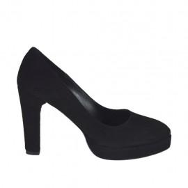 Escarpin pour femmes en daim noir avec plateforme talon 9 - Pointures disponibles:  31, 32, 33, 34