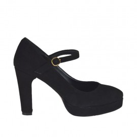 Woman's platform pump in black suede with strap heel 9 - Available sizes:  31, 32, 45, 47
