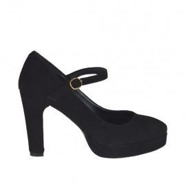 Zapato de salon para mujer con cinturon y plataforma en gamuza negra tacon 9 - Tallas disponibles:  31, 32, 33, 44, 45, 46, 47