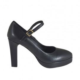 Zapato de salon para mujeres con correa y plataforma en piel de color negro tacon 9 - Tallas disponibles:  32, 33, 43, 44, 45, 46, 47