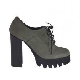 Chaussure à lacets pour femmes en cuir nubuck gris talon 10 - Pointures disponibles:  31, 42, 43, 44