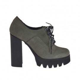 Woman's laced shoe in grey nubuck leather heel 10 - Available sizes:  31, 32, 33, 34, 42, 43, 44