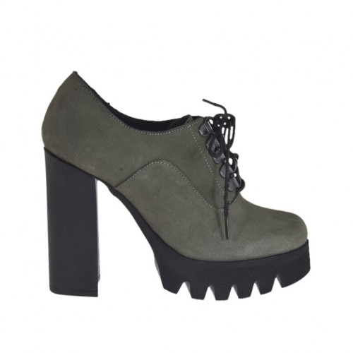 Woman's laced shoe in grey nubuck leather heel 10 - Available sizes:  42