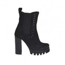 Bottines pour femmes avec elastiques et goujons en nubuck noir talon 10 - Pointures disponibles:  31, 32, 33, 34, 42, 43, 45