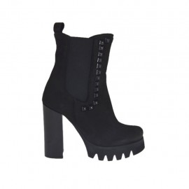 Woman's ankle boot with elastic bands and studs in black nubuck leather heel 10 - Available sizes:  42, 43, 45, 46