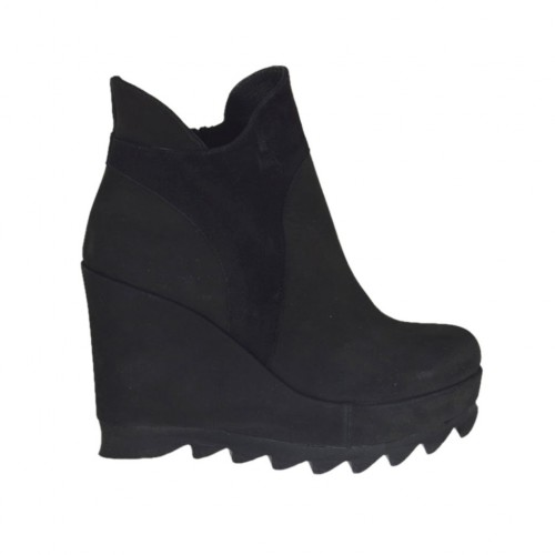 Woman's ankle boot with zipper and platform in black nubuck leather and suede wedge heel 9 - Available sizes:  42