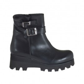 Woman's ankle boot with zipper and buckles in black leather wedge heel 5 - Available sizes:  32, 33, 34, 43, 44, 46