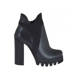 Woman's ankle boot in black leather and suede with zipper heel 10 - Available sizes:  46
