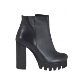 Bottines avec fermeture éclair pour femmes en cuir noir talon 10 - Pointures disponibles:  42, 43, 45, 46