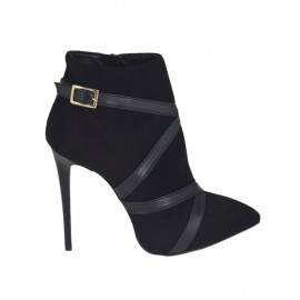Woman's ankle boot with buckle, zipper and platform in black suede and leather heel 10 - Available sizes:  32, 42, 44, 45, 46, 47
