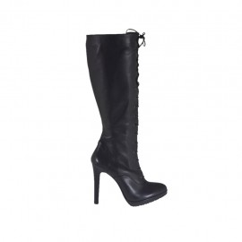 Woman's laced boot in black leather with zipper and platform heel 12 - Available sizes:  42