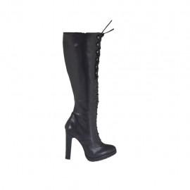 Bottes à lacets avec fermeture éclair et plateforme pour femmes en cuir noir talon 10 - Pointures disponibles:  31, 32