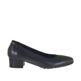 Woman's pump in black leather heel 3 - Available sizes:  32, 33, 34, 43, 44