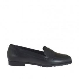 Zapato mocasino para mujer en piel y charol de color negro tacon 1 - Tallas disponibles:  33, 34, 43, 44, 45
