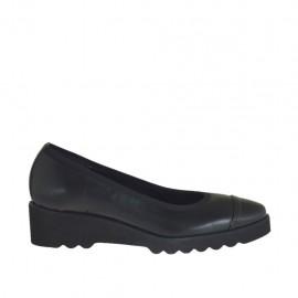 Zapato de salon para mujer en piel y charol negro cuña 3 - Tallas disponibles:  33, 42
