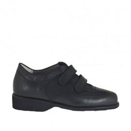 Chaussure pour femmes avec velcro et semelle interieur amovible en cuir et tissu noir talon 3 - Pointures disponibles:  33, 34, 42, 43, 44
