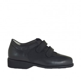 Woman's shoe with velcro straps and removable insole in black leather and fabric heel 3 - Available sizes:  33, 34, 42, 43, 44