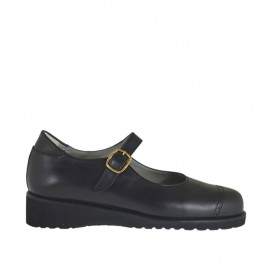 Zapato con cinturon para mujer en piel de color negro cuña 3 - Tallas disponibles:  33, 34, 42, 43, 44, 45