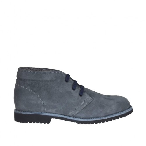 Men's casual laced shoe in grey-colored nubuck leather - Available sizes:  46, 47