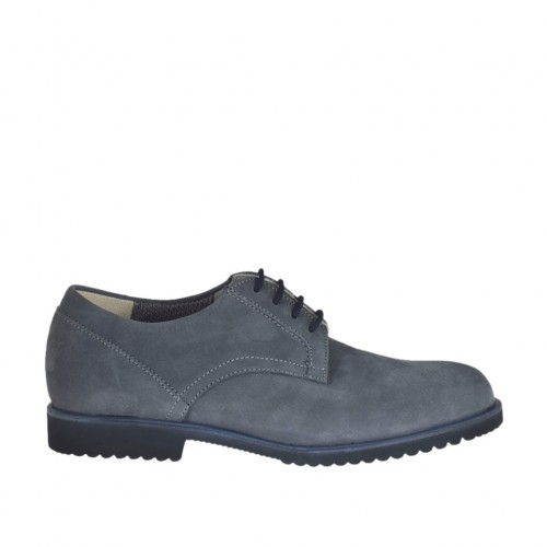 Men's laced casual shoe in grey nubuck leather - Available sizes:  37