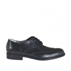 Men's laced derby shoe with decorations in black leather - Available sizes:  37, 38, 46, 47, 48, 49