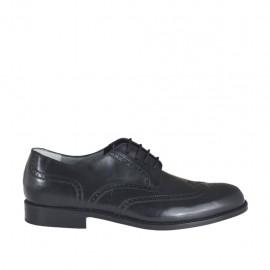 Scarpa da uomo derby elegante e stringata con decorazioni in pelle nera - Misure disponibili: 36, 38, 47, 48, 49