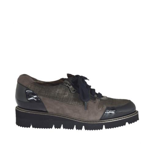 Zapato con cordones y cremalleras para mujer en charol negro y gamuza gris pardo y estampada cuña 3 - Tallas disponibles:  33, 43