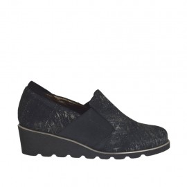Chaussure à cou-de-pied haut pour femmes avec elastiques en daim noir et imprimé argent talon compensé 4 - Pointures disponibles:  34, 43, 45