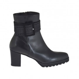 Woman's ankle boot with zipper and buckle in black leather and printed suede heel 6 - Available sizes:  32, 34, 42, 43, 44