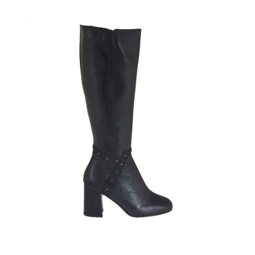 Woman's boot in black leather with studs and zipper heel 7 - Available sizes:  32, 42