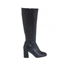 Botas para mujer con cremallera y boton en piel negra tacon 7 - Tallas disponibles:  33, 42, 43, 44